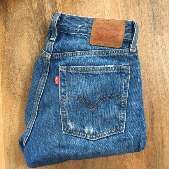 Levi's Pants - Dark wash distressed Levi's